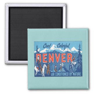 Vintage Denver Colorado Square Magnet