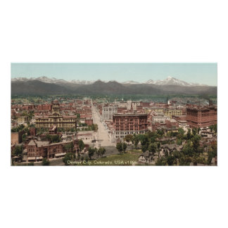 Vintage Denver panorama, Colorado USA 1895 Picture Card