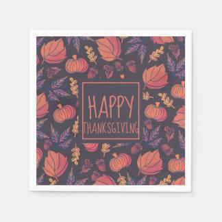 Vintage Design Happy Thanksgiving   Napkin Disposable Serviettes