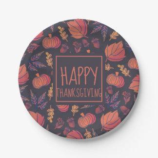 Vintage Design Happy Thanksgiving Paper Plates