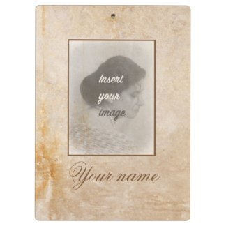Vintage design with your photo. Add your text. Clipboard