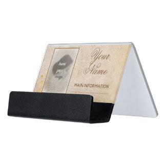 Vintage design with your photo. Add your text. Desk Business Card Holder