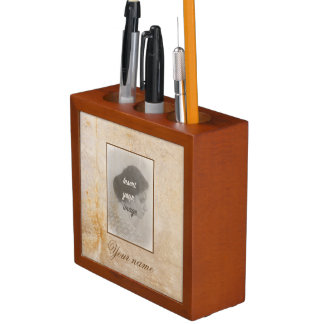 Vintage design with your photo. Add your text. Desk Organiser