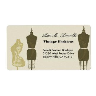 Vintage Designer Fashions & Craft  Business Shipping Label