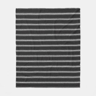 """ Vintage Designs "" MED-BLK & White-PINSTRIPE Fleece Blanket"