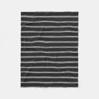 """ Vintage Designs "" SM-BLK & White-PINSTRIPE Fleece Blanket"