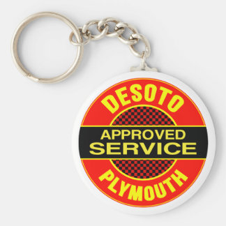 Vintage DeSoto service sign Basic Round Button Key Ring