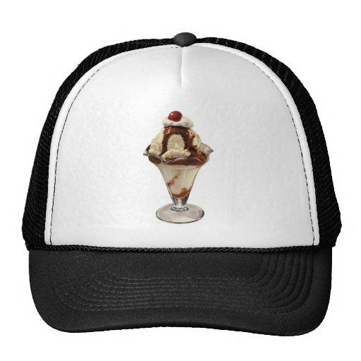Vintage Dessert; Hot Fudge Ice Cream Sundae Cherry Mesh Hat