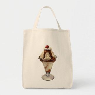 Vintage Dessert; Hot Fudge Ice Cream Sundae Cherry Grocery Tote Bag