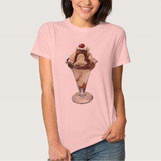 Vintage Dessert; Hot Fudge Ice Cream Sundae Cherry T-shirt