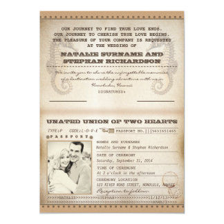 vintage destination wedding passports invites