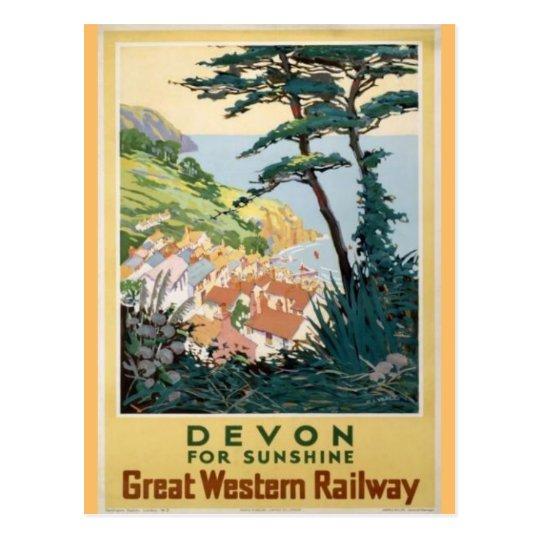Vintage Devon English Travel Advertisement Postcard