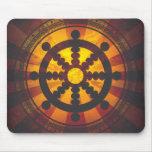 Vintage Dharma Wheel Print Mouse Pads