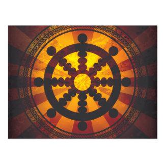 Vintage Dharma Wheel Print Postcard