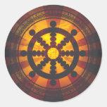 Vintage Dharma Wheel Print Round Sticker