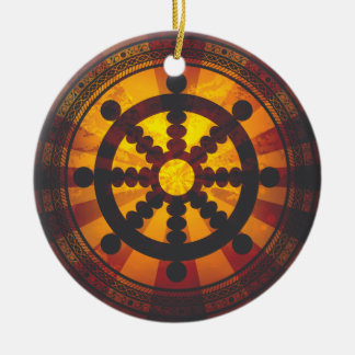 Vintage Dharma Wheel Round Ceramic Decoration