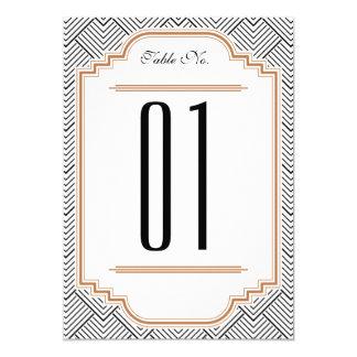 Vintage Diamond Black & Copper Table Number 13 Cm X 18 Cm Invitation Card