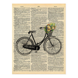Vintage Dictionary Art Bicycle with Flowers Postcard