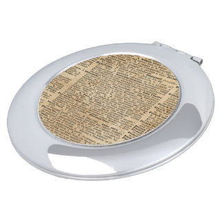 Vintage Dictionary Art Round Compact Mirror
