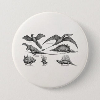 Vintage Dinosaur Illustration Retro Dinosaurs 7.5 Cm Round Badge