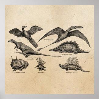 Vintage Dinosaur Illustration Retro Dinosaurs Poster