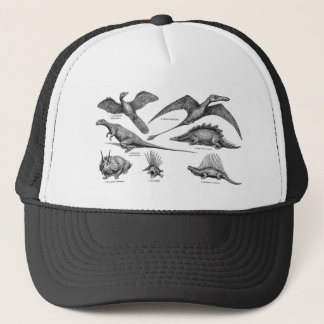 Vintage Dinosaur Illustration Retro Dinosaurs Trucker Hat