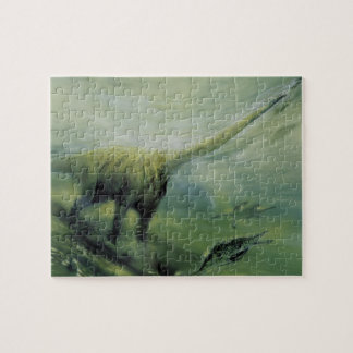 Vintage Dinosaurs, Brachiosaurus Swimming in Ocean Jigsaw Puzzle