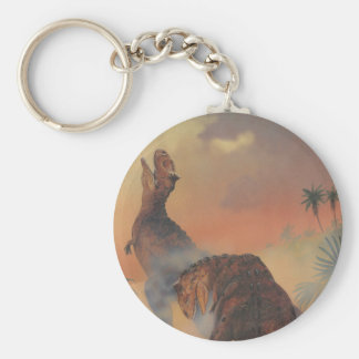 Vintage Dinosaurs, Carnotaurus Roaring in Jungle Basic Round Button Key Ring