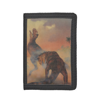 Vintage Dinosaurs, Carnotaurus Roaring in Jungle Trifold Wallet