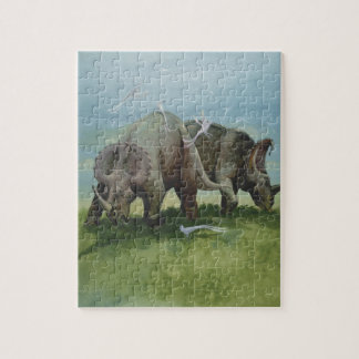 Vintage Dinosaurs, Centrosaurus Grazing in Meadow Jigsaw Puzzle
