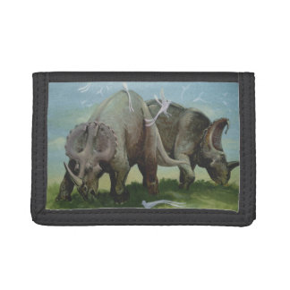 Vintage Dinosaurs, Centrosaurus Grazing in Meadow Tri-fold Wallets