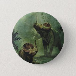Vintage Dinosaurs, Centrosaurus in the Jungle 6 Cm Round Badge