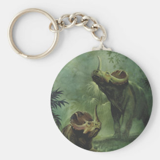 Vintage Dinosaurs, Centrosaurus in the Jungle Basic Round Button Key Ring
