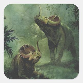 Vintage Dinosaurs, Centrosaurus in the Jungle Square Sticker