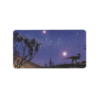 Vintage Dinosaurs, Dilophosaurus on a Starry Night Label