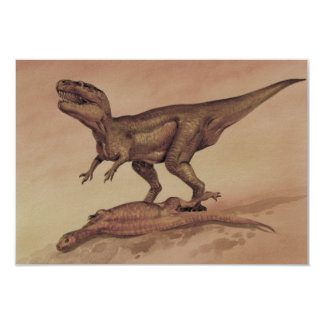 Vintage Dinosaurs, Giganotosaurus Eating Prey 9 Cm X 13 Cm Invitation Card