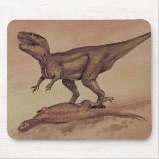 Vintage Dinosaurs, Giganotosaurus Eating Prey Mouse Pad