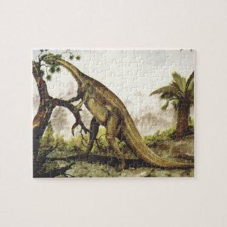 Vintage Dinosaurs, Plateosaurus Grazing on Trees Jigsaw Puzzle