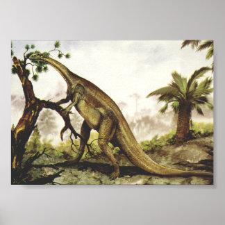 Vintage Dinosaurs, Plateosaurus Grazing on Trees Poster