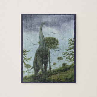 Vintage Dinosaurs, Sauroposeidon with Birds Flying Jigsaw Puzzle