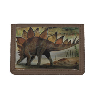 Vintage Dinosaurs, Stegosaurus, Tail with Spikes Tri-fold Wallet