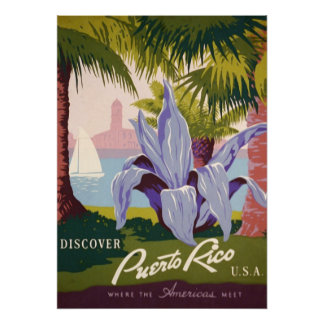 Vintage Discover Puerto Rico USA Poster
