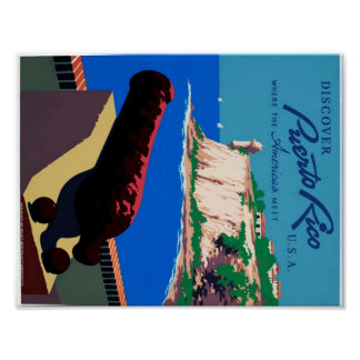 Vintage Discover Puerto Rico WPA Poster