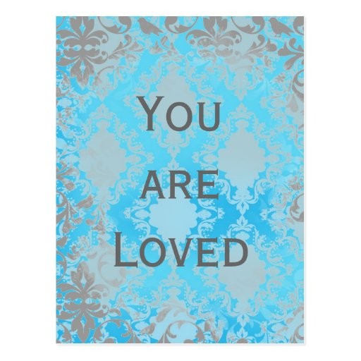 Vintage Distressed Damask You are Loved Post Card