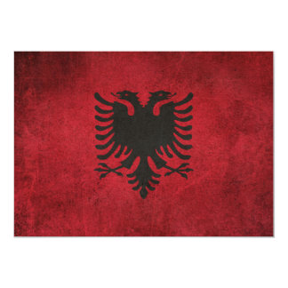 Vintage Distressed Flag of Albania 13 Cm X 18 Cm Invitation Card