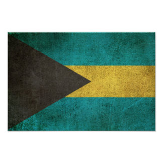 Vintage Distressed Flag of Bahamas Poster