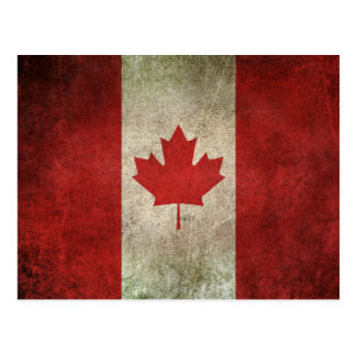 Vintage Distressed Flag of Canada Postcard