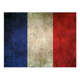 Vintage Distressed Flag of France Postcard