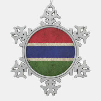 Vintage Distressed Flag of Gambia Snowflake Pewter Christmas Ornament