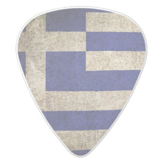 Vintage Distressed Flag of Greece White Delrin Guitar Pick